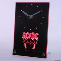 All'ingrosso-tnc0142 ACDC AC / DC Rock n Roll Bar Beer Table Desk Clock 3D LED