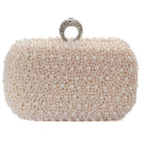 Wholesale ivory bridal clutches resale online - Women Evening Clutch Bag Gorgeous Pearl Crystal Beading Bridal Wedding Party Bags CrossBody Handbags Mobile Phone New Style
