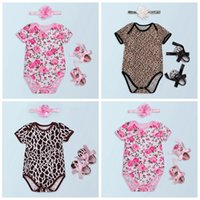 Wholesale Cotton Fabric Baby Headbands - baby girl romper sets cotton jumpsuit baby floral rompers + fabric flowers headbands + toddler shoes summer clothes newborn onesies leopard