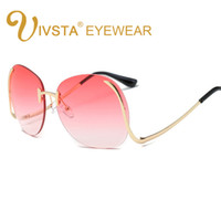 Wholesale Pink Sea Glass - VSTA 2017 Hipster Sunglasses Women Big Oversized Glasses Color Sea Lense Frameless Sun Glasses Fashion Party Hot Summer Style