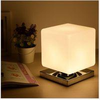 Wholesale Square Bedside Lamp - Carola Creative Table Lamp Square Cute Baby Feeling Lamp Wedding Bedroom Warm Bedside Lamp 1 Bulb 3W