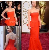 Wholesale Jennifer Lawrence Oscars - 2017 Jennifer Lawrence 2016 Oscar Awards Orange Mermaid prom Strapless Red Carpet Celebrity Dresses with Peplum