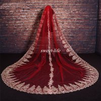 Wholesale Embroidery Fingertip Length - Red White Ivory Real Photo Luxury Lace Embroidery long 3.5m Bridal Veils 2017 Elegant Tulle Bridal Wedding Accessories