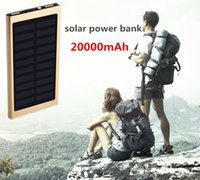 Wholesale Slim Solar Panel - Metal Slim Power Bank 20000mah Solar Panel Portable Backup Charger 2 USB Ports Emergency Charger For Iphone 7 Samsung HTC Xiaomi Huawei Blue