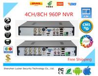 segurança dvr 8ch venda por atacado-Segurança Lucker 4CH 8CH AHD DVR 960 P 25/30 fps AHDNH CCTV 4/8 Canais NVR Multi-língua de alarme Suporte de Áudio P2P