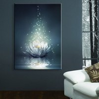 Wholesale Christmas Picture Wall - Flower LED Wallpaper Chinese Painting White Lotus On The Water LED Canvas Print Wall Art Stickers Led Christmas Canvas Wall Arts