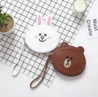 Wholesale Animal Ear Phones - Children cartoon purse fashion kids cute rabbit bear modelling phone key PU bag girls stereo bunny ear princess handbag R1534