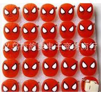 Wholesale Spiderman Badges - New Cartoon 25pcs set Spiderman PVC LED Badge Flashing Brooch,Children Party Christmas Valentine's Day Decoration F--17