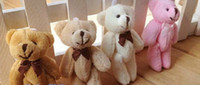 Wholesale Teddy Bears Small Size - Wholesale- Size Smallest 8CM Joint Bowtie Teddy Bear Mix Colors Plush TOY DOLL ; Plush Stuffed TOY Wedding Gift Bouquet Decor DOLL TOY