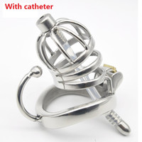 Wholesale Bdsm Locked Cock - 2017 Dormant Lock Design Short Male Stainless Steel Cock Cage Penis Ring With Silicone Catheter Chastity Belt Device BDSM Sex Toy C275