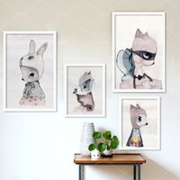 ingrosso verniciature-Nordic Decoration Girls Arte della parete Stampe su tela Poster e stampe Wall Paintings Nursery Wall Immagine Girl Kids Room Cuadros Poster No Frame