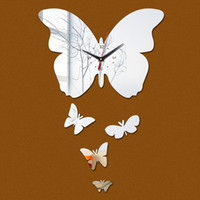 Wholesale Real Butterfly Acrylic - Wholesale- 2016 new promotion real home decoration mirror wall clock clocks 3d quartz needle acrylic living room Butterfly watch Creative