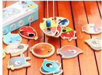 Wholesale Box Wooden Fish - Wholesale-Children wooden fishing toys with 14 fish and 2 rods Iron box packing   Kids outdoor fishing game educational toy birthday gifts