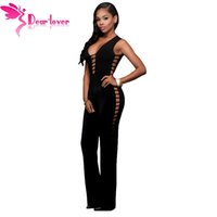 Wholesale Nightclub Jumpsuits For Women - Dear-Lover Jumpsuit Long Pants Ladies Black String Hollow Out Sexy Nightclub Rompers Overalls for Women Macacao Feminino LC64111