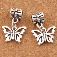 Wholesale butterfly beads - Open Flower Papilio Butterfly Big Hole Beads 100pcs lot Antique Silver Fit European Charm Bracelets Jewelry DIY B1108 15x30mm