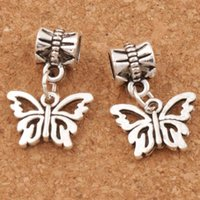 Open Flower Papilio Butterfly Big Hole Beads 100pcs / lot Antique Silver Fit European Charm Bracelets Jóias DIY B1108 15x30mm