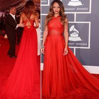 vestidos largos rihanna al por mayor-Rihanna Alfombra roja vestido de noche de alta calidad una línea vestido formal largo Celebrity vestido de fiesta de evento