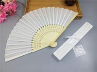 cajas del favor de la boda del satén al por mayor-50 unids / lote envío rápido satinado de seda plegable mano ventilador abanico de bambú con caja al por menor para favor de la boda
