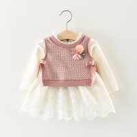 Wholesale Girls Wool Lace Dress - Baby girls outfits toddler kid cotton lace hollow out dress+knitting wool bows ribbon stereo flower waistcoat 2pcs sets infant clothes C0378