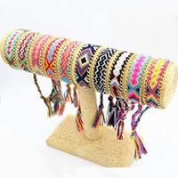 ingrosso fascino d'oro misto-10 Design misto fantastico Corda String Handmade Geometric Amicizia Bracciale Summer Fashion Placcato oro catena in lega di cotone tessuto braccialetto