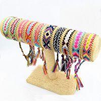 gewebte seilschnur großhandel-10 Design Mixed Fantastic Seil String Handgemachte Geometrische Freundschaftsarmband Sommer Mode Gold Überzogene Legierung Kette Baumwollgewebte Armband