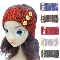 Wholesale European autumn winter baby kids wool hair band knitting warm girls three button Ear Turban Headbands Children hair accessories SEN106