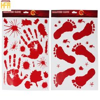 Wholesale Halloween Blood - Halloween Sticker Party Decoration Halloween Window Decoration Wallpaper Red Blood Footprints Handprints Static Sticker Mixed Wholesale