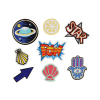 Wholesale Moon Sticker - 10pcs Embroidered Patches Cheap Moon POW Star Letter Iron On Cloth Sewing Applique Badges Clothes Stickers DIY Apparel Garment