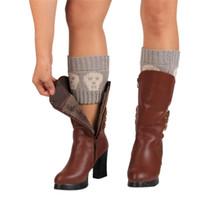Wholesale Skull Boot Socks - Wholesale- Brand new skulls leg warmers for Winter women Short Boot Cuffs trim gaiters Boot Socks Knitted Crochet Leg Warmers 2016 Gift 1pc