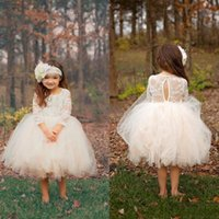 Wholesale Mini Christmas Chocolates - 2017 Boho Ball Gown Puffy Cupcake Short Toddler Flower Girls Dresses Sheer 3 4 Sleeves Knee Length Tulle Birthday Pageant Communion Gowns