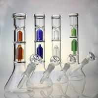 Wholesale Dome Base - 12 Inches Glass Bong Water Pipe with 4-arm Tree Percolator Slitted Dome Diffuse Perc 3 Ice Pinch with Beaker Base