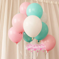 Wholesale Blue Latex Balloons - Wedding Decoration Balloons Pink WhiteTiffany Blue Latex 50 Pcs 12 inch Air Balls Happy Birthday Party Helium Inflatable Ballons Kids 2.2g