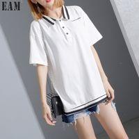 Wholesale Korean Formal Woman Shirt - 2017 Spring Summer Fashion New Solid Color Stripe Turn Down Collar T-shirt Korean Loose Button Tops Woman T84900
