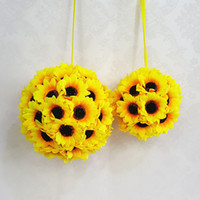 "Wholesale Silk Hangers - New 1Pcs Lot 5.5""( 14 cm ) Silk Sunflower Artificial Flower Ball Kissing Hanger Ball For Wedding Party DIY Bridal Flower Decor&2"