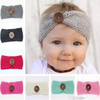Wholesale Baby Girl Headband Crochet - New Baby Girls Fashion Wool Crochet Headband Knit Hairband With Button Decor Winter Newborn Infant Ear Warmer Head Headwrap