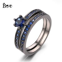 Princess Blue stone 5A Zircon stone 10KT Black Gold Filled Wedding Band Ring Set Sz 6-9 Entrega gratuita Presentes