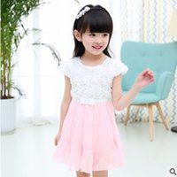Wholesale Tutu S Roses - Children 's Dress Clothing Sets New 2017 Summer Girls White Rose 2 Solid Colors Size3-10 ly308 2 piece Kids Clothes Sets