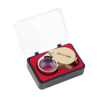 Wholesale Eye Magnifies - 2017 Portable 30X Power 21mm Jewelers Magnifier Gold Eye Loupe Jewelry Store Lowest Price Magnifying Glass with Exquisite Box