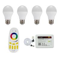 Wholesale E27 Led Remote Base - 4pcs Milight LED RGBCW or RGBWW bulb 6W E27 base lamp AC85-265V & Four Zone Remote& wifi controller