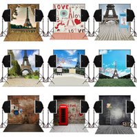 Wholesale Brick Wall Photography Backdrop - 5x7ft bricks wall eiffel tower campus scenic photography backdrops for wedding photo camera fotografica studio background vinyl digital prop