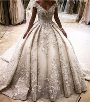 Ball Gowns online - Luxury Princess Style Wedding Dresses 3D Flower Appliques Off Shoulder Crystal Bridal Gowns Long Cathedral Train vestidos largos