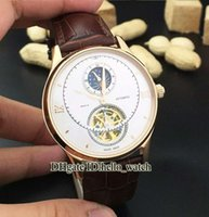 Wholesale Cheap White Gold Watches - Super Clone Brand Luxury Watch Malte Moon Phase Tourbillon Automatic Mens Watch White Dial Rose Gold Leather Strap Cheap New Watches VC04