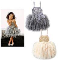 Wholesale Sequin Striped Dress - Girls Tutu Dress Princess Sequins Ruffles Party Dress Girl Irregular Tutu Dress for 1~7Y 5pcs lot