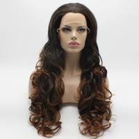 auburn medio ondulado pelucas al por mayor-Iwona Hair Dark Root Auburn Ombre Ondulado peluca larga 5 # PT2 / 30 Mitad atado a mano resistente al calor Peluca delantera del cordón