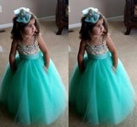 vestido de bola verde para crianças venda por atacado-Bonito Verde Turquesa Flowe Meninas Vestidos Cintas De Espaguete De Cristal Frisada Tulle Vestido de Baile Da Criança Infante Pageant Vestidos Para Meninas