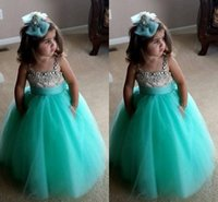 Wholesale turquoise dresses for girls - Cute Turquoise Green Flowe Girls Dresses Spaghetti Straps Crystal Beaded Tulle Ball Gown Toddler Infaint Pageant Dresses For Girls