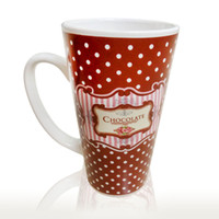 Wholesale Advertising Coffee Cups - 15cm High Multicolor Ceramics Mug Funnel Coffee Chocolate Milk Cups Customized Advertising Gift Festival Porcelain Cup