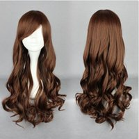 Wholesale Long Brown Wig Wavy Cosplay - Long Brown Women 70CM Lolita Hair Anime Cosplay Wig Curly Wavy Costume Party Wig