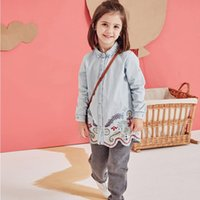 Wholesale Spring Blouse Flower - Hug Me Girls Tops Kids Clothing 2017 Spring Embroidery Denim Shirt Fashion Long Sleeve Flower Lace Top EC-221