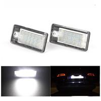 audi a4 b6 led lumières achat en gros de-2pcs / lot LED feux de plaque d'immatriculation 18LED 12V pour Audi A4 b6 8E A3 S3 A6 c6 Q7 A4 b7 A8 S6 RS6 RS6